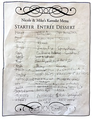 Karaoke Wedding Menu